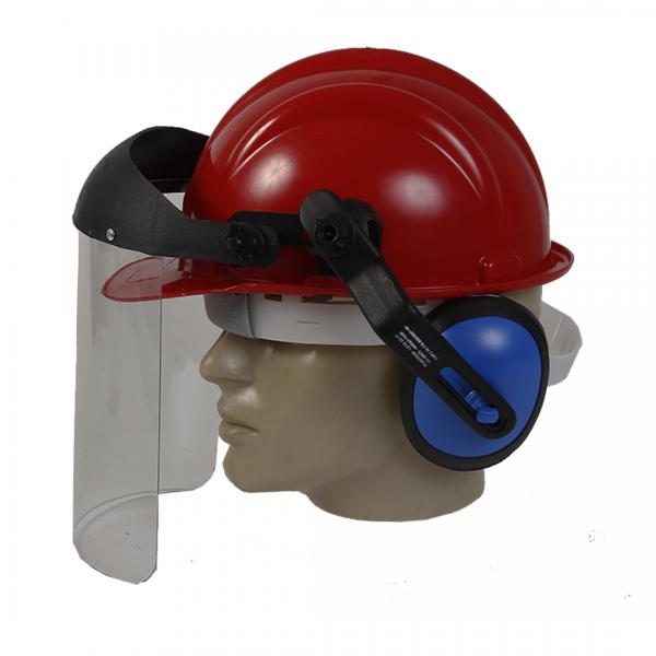 Capacete vermelho acoplado com abafador e viseira - PLASTCOR