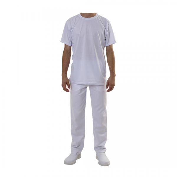 Camiseta gola redonda manga curta branca