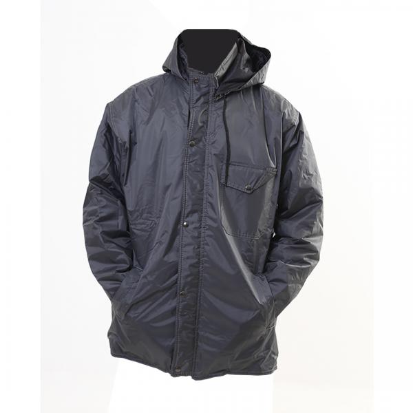 Jaqueta de nylon PVC impermeável modelo parka com capuz cinza chumbo - PANTANEIRO