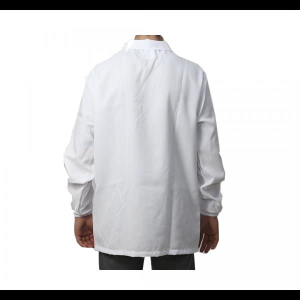 Jaleco manga longa velcro com punho de elástico branco - SILNOFRE