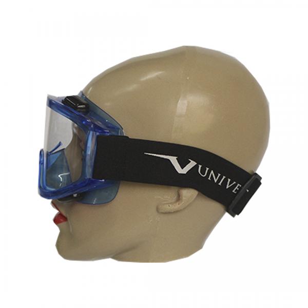 Óculos de segurança 601 ampla visão azul com elástico Anti-Risco e Antiebaçante incolor - UNIVET