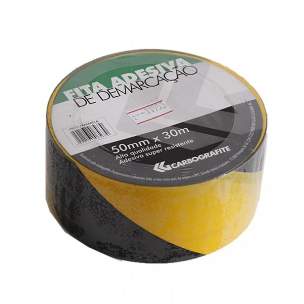 Fita de demarcação adesiva preta/amarela - CARBOGRAFITE