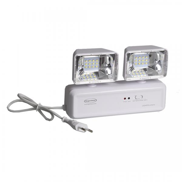 Luminária de emergência LED 400 LUMENS com 2 faróis - SEGURIMAX