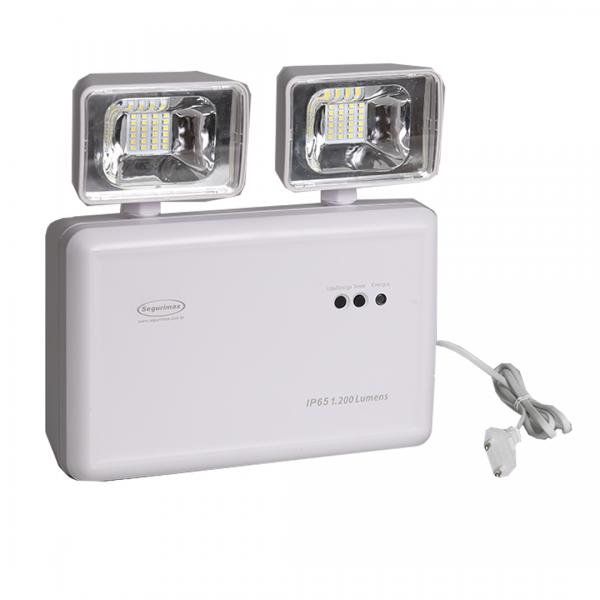 Luminária de emergência externa LED 1200 LUMENS C/ 2 faróis - SEGURIMAX