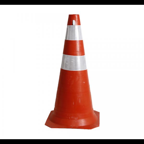 Cone 75CM semiflexível com refletivo laranja/branco