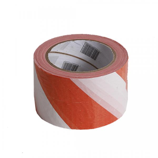 Fita de isolamento zebrada laranja/branca 200mt - PLASTCOR