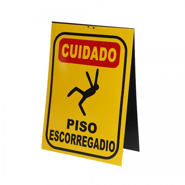Cavalete placa dupla cuidado PISO ESCORREGADIO