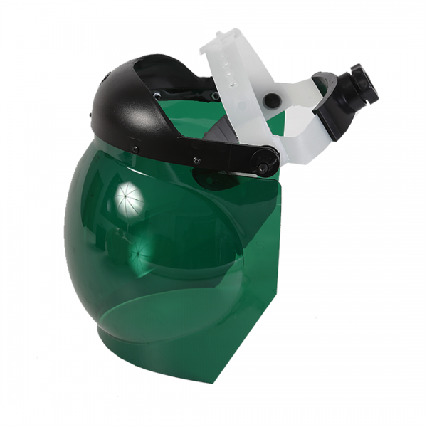 Protetor facial esférico verde com catraca - LEDAN
