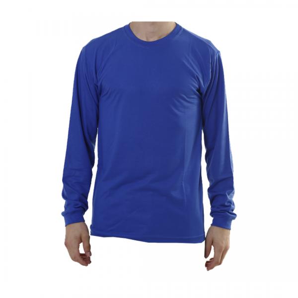 Camiseta poliviscose manga longa azul