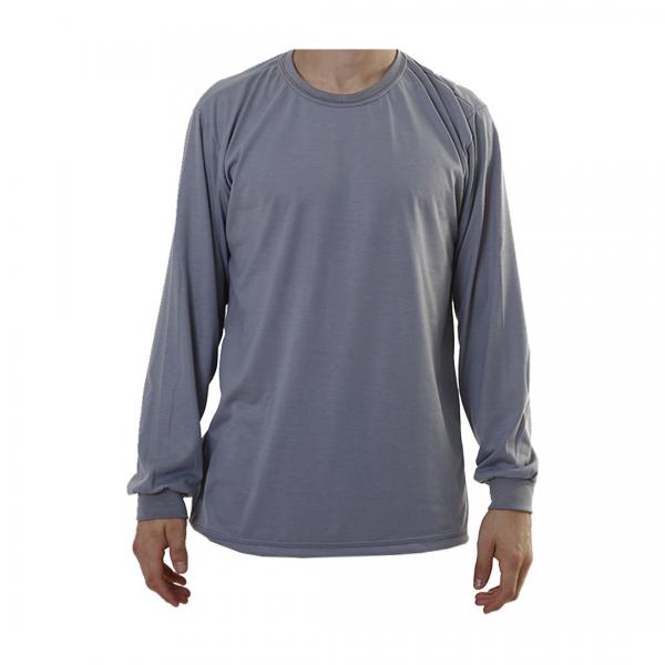 Camiseta poliviscose manga longa manga longa cinza escuro