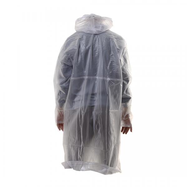 Capa de chuva em PVC manga longa com capuz velcro e zíper transparente - PANTANEIRO