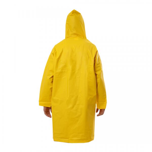 Capa de chuva em PVC manga longa forrada com capuz amarelo - CAPSEG
