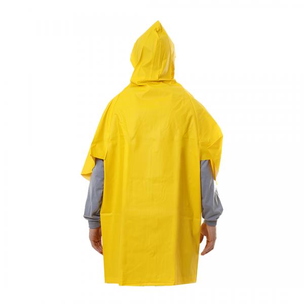 Capa de chuva em PVC manga morcego com capuz amarelo - CAPSEG