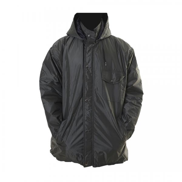 Jaqueta de nylon PVC impermeável modelo parka com capuz militar - PANTANEIRO