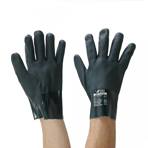 Luva de PVC têxtil algodão punho curto 26cm - Volk