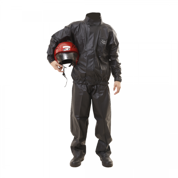Conjunto motoqueiro preto PVC com refletivo - DELTA