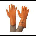 Luva látex corrugada antiderrapante com forro de algodão 350ºC laranja - Volk